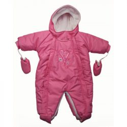 Téli overallá alakítható lány bundazsák/rózaszín szivecskés